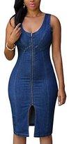 Cfanny Women's Faddish Gold Zipper Slit Front Midi Denim Dress,Blue