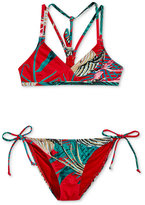 Roxy 2-Pc. Cuba Gang Athletic Triangle Printed Bikini Top & Bottoms Set, Little Girls (4-6X)