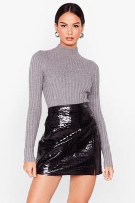 Nasty Gal Womens I Want Knit All Ribbed Turtleneck Jumper - Black - L