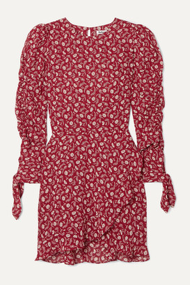 Reformation Lucita Floral-print Woven Mini Dress - Red