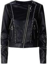 Pinko Collarless Studded Leather Jacket