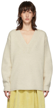 Acne Studios Off-White Rib Knit V-Neck Sweater