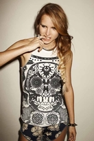One Teaspoon Skull Lace Ryder Tank in White