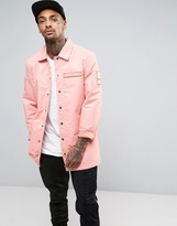 Dxpe Chef Coach Jacket In Pink With Military Patches