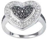 Journee Collection 1/50 CT. T.W. Journee Round Cut Diamond Pave Set Heart Ring in Sterling Silver - Black