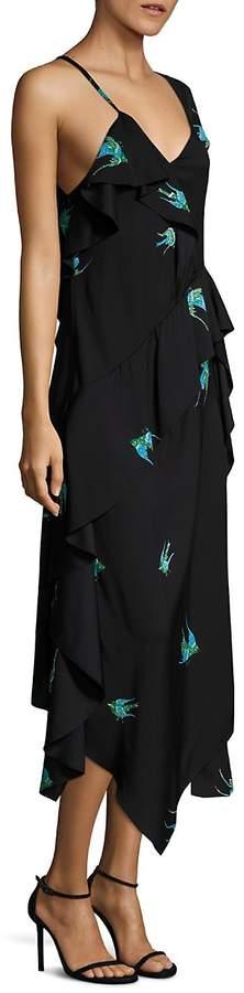 Diane von Furstenberg Women's Asymmetrical Ruffled Dress