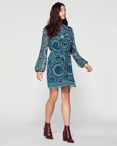 Vince Camuto Printed Ruffle-neck Dress