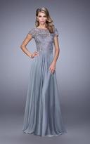 La Femme 21627 Illusion Lace Chiffon Gown