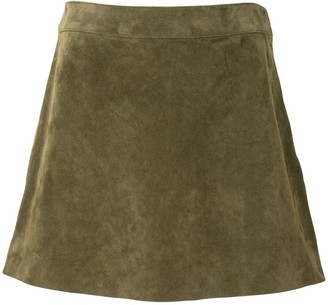 Saint Laurent Suede Trapeze Mini Skirt