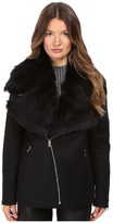 LAMARQUE Kiri Biker Coat w/ Detachable Shearling Collar