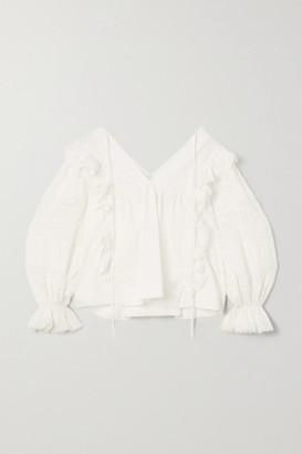Lug Von Siga Carla Ruffled Crochet-trimmed Cotton Blouse - White