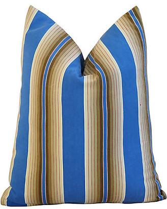 One Kings Lane Vintage Blue & Tan French Ticking Striped Pillow
