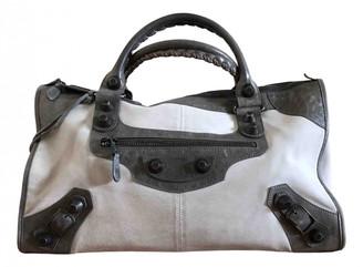 Balenciaga Work Grey Suede Handbags