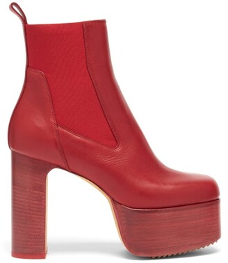 Rick Owens Kiss Leather Platform Chelsea Boots - Red