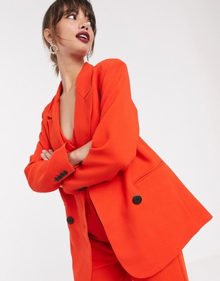 Asos Edition EDITION double breasted mansy jacket-Red