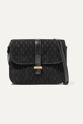 Saint Laurent Monogramme Leather-trimmed Suede Shoulder Bag - Black
