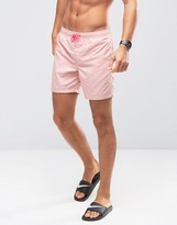Asos Swim Shorts In Pastel Pink With Neon Drawcord Mid Length