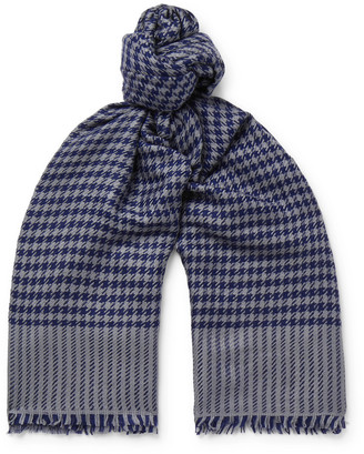 Anderson & Sheppard Houndstooth Cashmere Scarf