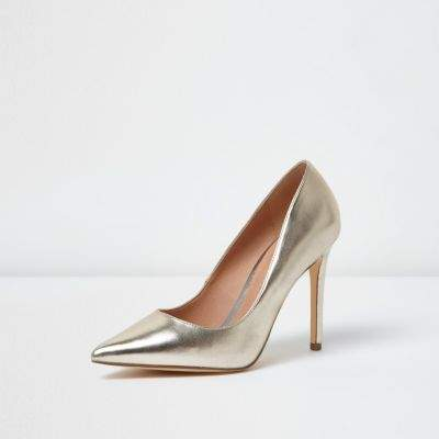 River Island Womens Gold metallic court shoes