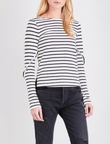 Mo&Co. Striped long-sleeved pure-cotton T-shirt