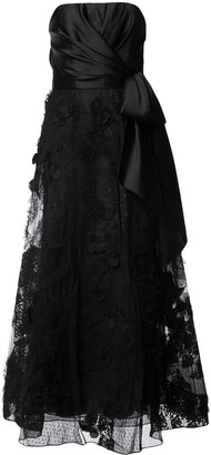 Marchesa knot-detail lace gown