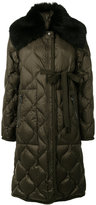Moncler lamb fur trim quilted coat