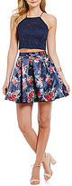Teeze Me Lace Halter Neck Illusion Yoke Top To Floral Skirt Two-Piece Dress