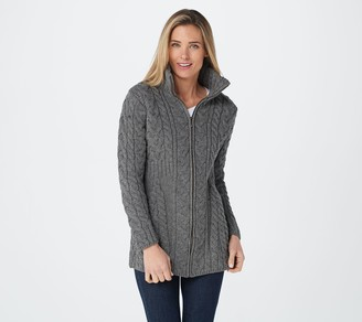 Kilronan Merino Wool Zip-Front Sweater Cardigan