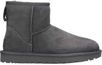 UGG Mini Classic Ii Low Heels Ankle Boots In Grey Suede