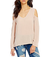 Chelsea & Violet V-Neck Long Sleeve Cold-Shoulder Solid Top