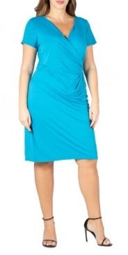 24seven Comfort Apparel Women's Plus Size Short Sleeve V-neck Faux Wrap Dress