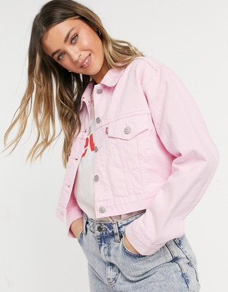 Levi's cropped trucker jacket in light pink