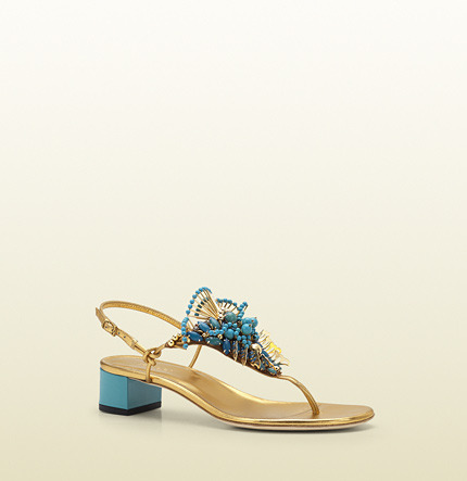 Gucci Phoebe Thong Sandal With Jeweled Embroidery