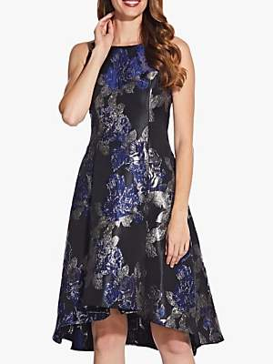 Adrianna Papell Metallic Jacquard High Low Dress, Black/Navy