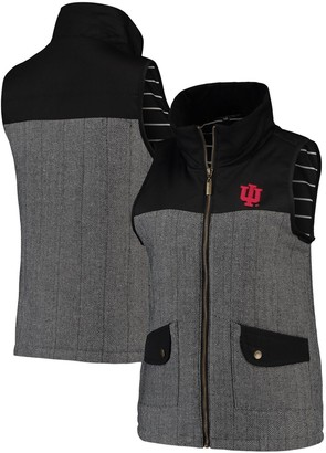 Women's Black Indiana Hoosiers Prep For It Herringbone Knit Full-Zip Vest
