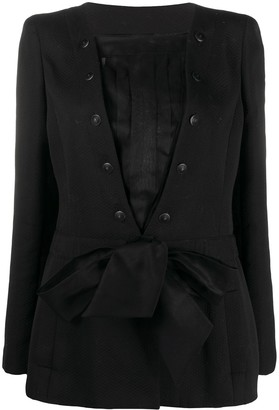 Chanel Pre Owned 2002 Layered Tied Waist Jacket