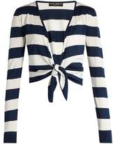 Dolce & Gabbana Waist-tie striped silk cardigan