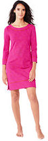 Lands' End Women's Petite Swim Cover-up Boatneck Tunic Dress-Cerise Pink Celestial Geo