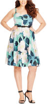 City Chic Plus Size Floral-Print Belted Dress