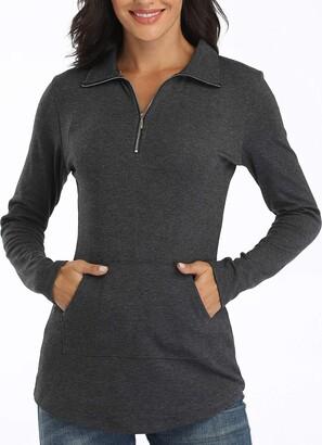 Dilgul Women Tops Zip V-Neck Pocket Long Sleeve Tunic Dark Grey