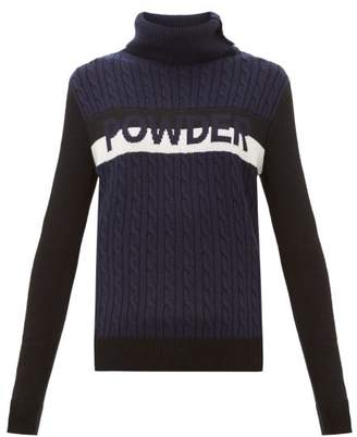 Perfect Moment Powder-intarsia Cable-knit Wool Sweater - Womens - Navy
