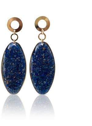 Kate Koel Statement Dangling Earrings - Oval Lapis