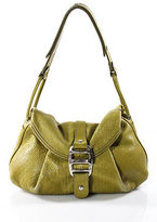 Hogan Yellow Leather Medium Flap Over Hobo Handbag
