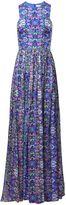 Matthew Williamson Blue Folkloric Floral Silk Chiffon Gown