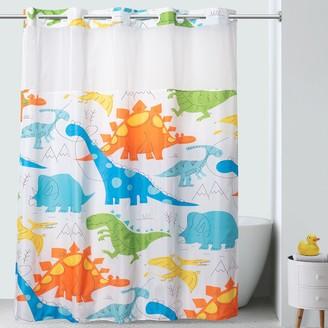 Hookless Dinosaur Pattern Shower Curtain & PEVA Liner