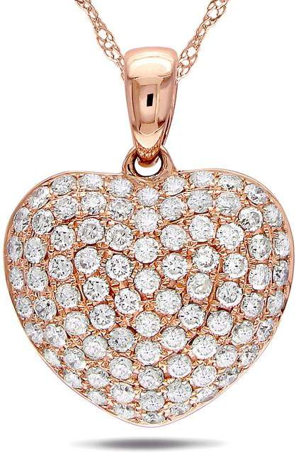 Julie Leah 1/2 CT TDW Diamond Encrusted Heart Pendant Necklace in 14K Rose Gold