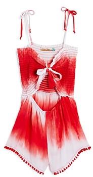 Vintage Havana Girls' Tie-Dyed Pom Pom Romper - Big Kid
