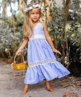Mia Belle Girls Girls' Casual Dresses Blue - Blue Gingham Lace-Insert Ruffle Maxi Dress - Toddler & Girls