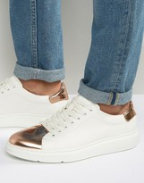 Asos Sneakers in White With Copper Metallic Toe Cap