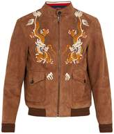 Gucci Dragon-embroidery suede bomber jacket